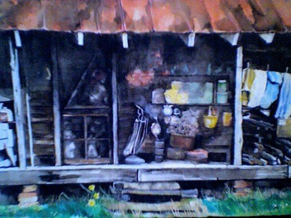 southern shack pastel drawing