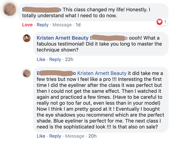 online makeup workshop testimonial